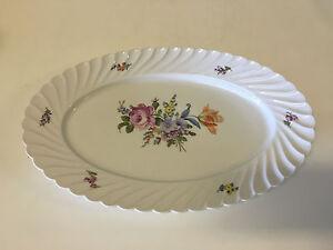 Vtg Antique German Nymphenburg Porcelain Oval Platter Painted Flowers Decoration