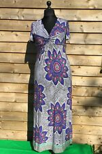 M&S Per Una Casual/Summer Full Length Floral Burst Stretchy Dress Multi 14UK
