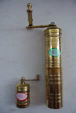 Manual Brass Turkish Greek Grinder Mill SET Coffee Beans&Pepper Seeds Flat