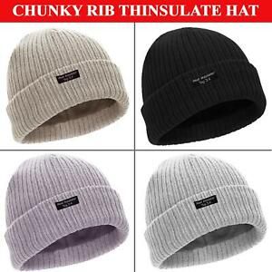 Mens Womens Beanie Hat Ladies Warm Chunky Thermal Heat Insulator Knitted Ski Cap