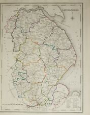 1845 ANTIQUE COUNTY MAP LINCOLNSHIRE SPALDING MARKET DEEPING FALKINGHAM LOUTH