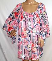 Melissa Paige Women Plus Size 1x 3x Coral Floral Chiffon Tunic Top Blouse Shirt