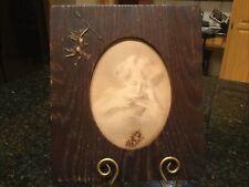 Antique Wood Frame W/ Metal Cupid & 1897 Print Of Cupid Asleep By M.B. Parkinson
