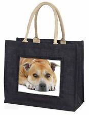 Red Staffordshire Bull Terrier Dog Large Black Shopping Bag Christma, AD-SBT3BLB