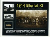 Bleriot XI - Smaller Piece of the Original Fabric on a Beautiful Certificate
