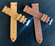 20mm Leather Watch Band Strap (set of 8) 3mm Thick RED Stitching - Fast Shipping