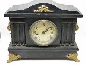 Old Sessions Mantle Clock Key Wind Time & Strike 6 Column Metal Mount Wood Case