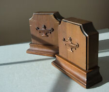 VINTAGE HEAVY FINE WOOD BOOKENDS GRADUATE GIFT. LAMP OF KNOWLEDGE MOTIF. SUPER!!
