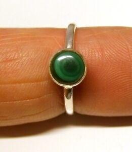 Handmade 925 Sterling Silver 5 mm Malachite Stone Plain Band Ring Size J to U