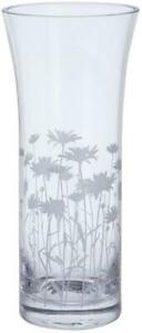 Dartington Bloom trumpet vase, marguerite daisy flower, etched glass, 25.5cm