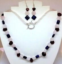 Rose Quartz, Red & Blue Tiger's Eye gemstone silver plated necklace AND earrings