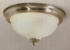 Flush Mount Ceiling LIght 2-Light Brushed Nickel Fixture Frosted Glass Dome