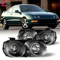94-97 For Acura Integra Clear Lens Projector Halo Headlights Black Housing
