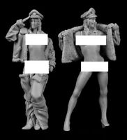Unpainted Kit 65mm US Girl Summer Soldiers Historical WWII Resin Figure