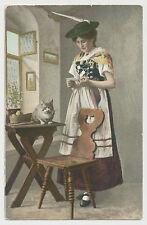 AK giovane donna in Trachten abiti con gatto (e752)