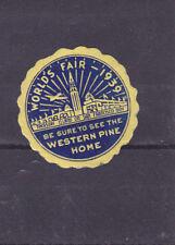 Vintage Label 1939 Golden Gate Expo WESTERN PINE HOME World's Fair  #IM