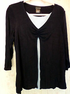 CITIKNITS QVC Travel Knit 3/4 Sleeves Cinched Duet Top Blouse Twinset  MED NWT