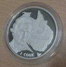 Australia 1993 ARGENTO PROOF 1 OZ (ca. 28.35 g) $5 gli esploratori-capitano James Cook