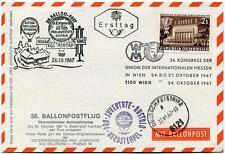 1967 Ballonpost n. 38 Pro Juventute Aerostato D-Ergee III OE-DZB Wien