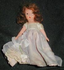 Old Bisque Nancy Ann Storybook Doll w Flower, Purple, Lilac Dress