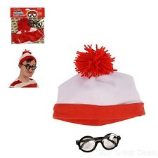 Red And White Beanie Hat With Nerd Glasses Where's Waldo Halloween Costume Props