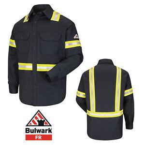 Bulwark Flame Resistant Enhanced Visibility Shirt Hi Vis FR Clothes Work Uniform