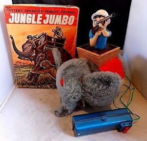 Rare Vintage Tin Battery-Op Jungle Jumbo Toy wt Remote, B-C Toys, Japan EXiB