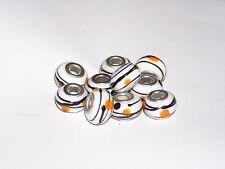 10 pcs silver murano glass european charm white with black stripes & orange spot