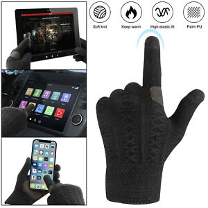Winter Knit Warm Soft Texting Gloves Thermal Fleece Wool Lined Touchscreen Glove