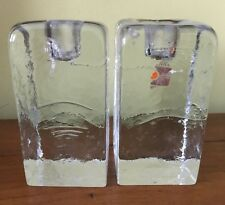 Vintage Mid Century Modern Blenko Glass Tall Ice Cube Candlestick Candle Holders