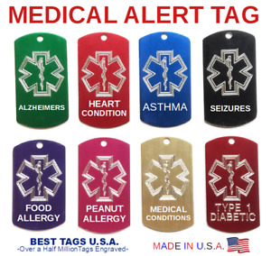 Medical Alert Emergency Name ID Tag Personalized Engraved >> Best Price >> $4.80