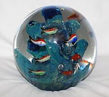 Large Murano Glass Aquarium Sculpture Sphere Paperweight Estate Fish Coral Reef
