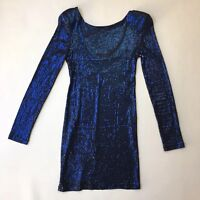 Topshop Petite Midnight Blue Sequin Mini Dress, Long Sleeve Low Back, Size UK 10