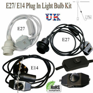 Rubber Cable UK Plug in Pendant Light Fitting On/Off Switch E27 E14 Lamp Holder