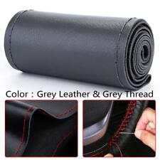 Universal DIY Grey Genuine Leather Car Steering Wheel Cover Case Needles&Thread