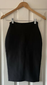 HOUSE OF CB BLACK BANDAGE BODYCON MIID SKIRT XS EXTRA SMALL HIGH WAISTED