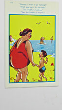 1950s Comic Postcard Hair Hat Pin Life Insurance Swimming Fat Lady Bottom BBW