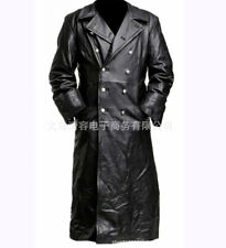 Men  Leather Jacket Officer Military German Trench Coat Sale Black Lapel LL