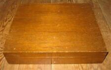 Flatware Storage Chest Case Wooden Silverware Oak Wood Red Interior Vintage (O)