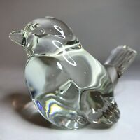 "Vintage Fenton Art Glass Clear Bird Figurine Paperweight 2.75"" Tall Excellent"