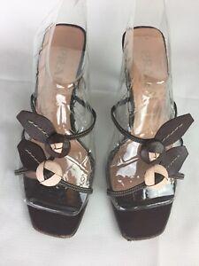 PRADA Leather Brown/ Blush,Straps Flowers Slide On Sandals Heels Shoes SZ 37 1/2