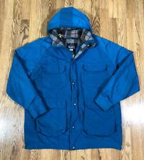 Mens Woolrich Parka Jacket Coat Wool Lined Size XL Blue
