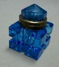Antique Ice Blue Glass Inkwell Deep Cut Polished Base   BS