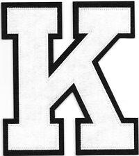 """6"""" inch Tall White on Black Block Letterman's Letter K Felt Patch"""