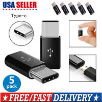 5 Pack Micro USB to Type-C Data Adapter Converter For Samsung LG Google USB 3.1