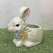 Bunny Rabbit Easter Spring Flowers Floral Planter Iridescent Hand Painted VTG