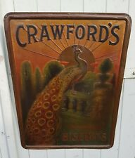 RARE ANCIENNE PLAQUE TOLE LITHOGRAPHIEE EMAILLEE BISCUIT ANGLAIS CRAWFORD