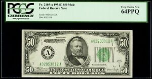 $50 1934C Mule Federal Reserve Note Boston PCGS Very Choice New 64 PPQ