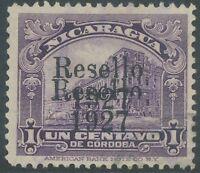 """NICARAGUA 1927 1 C. violett m. schwarzem Doppelaufdruck """"RESELLO / 1927"""", gest."""