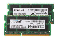8GB Crucial 2PCS 4GB 2RX8 PC3-10600S DDR3 1333MHZ 204PIN CL9 Laptop Memory RAM